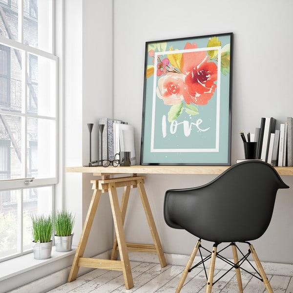 Plagát s kvetmi Love, modré pozadie, 30 x 40 cm