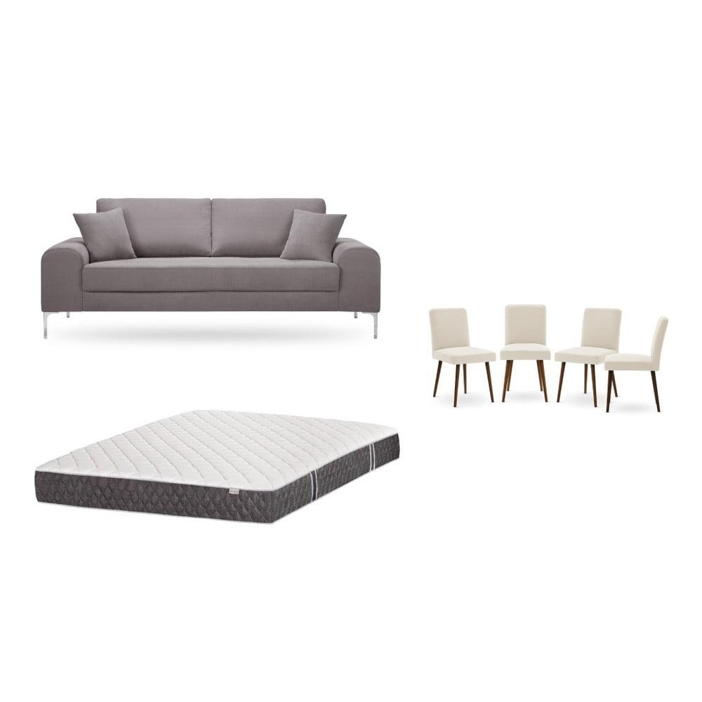 Set trojmiestnej hnedej pohovky, 4 krémových stoličiek a matraca 160 × 200 cm Home Essentials