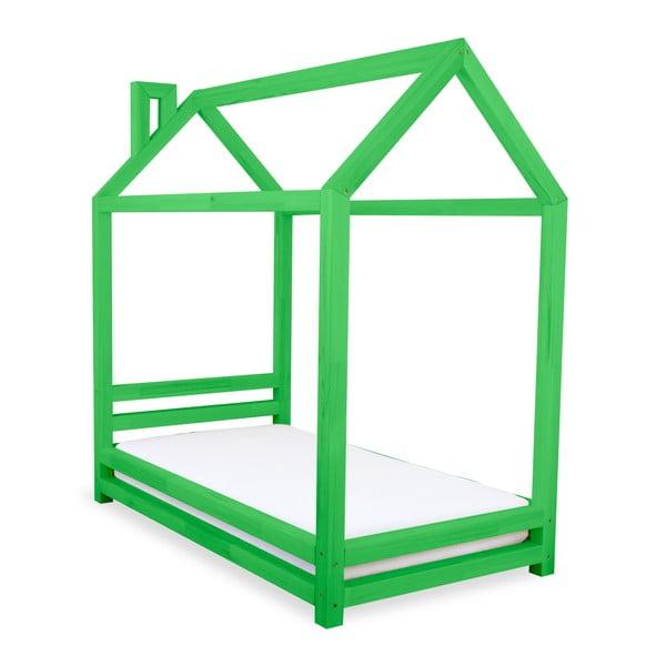 Detská zelená posteľ zborovicového dreva Benlemi Happy, 90×200cm