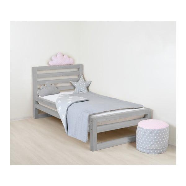 Detská sivá drevená jednolôžková posteľ Benlemi DeLuxe, 180 x 90 cm