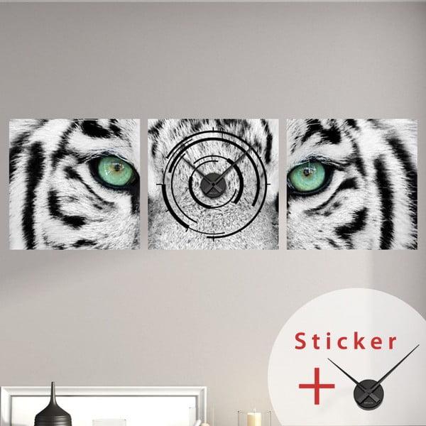 Samolepiace hodiny White Tiger, 40x120 cm