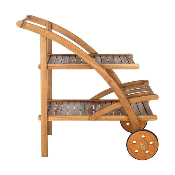 Hnedý záhradný drevený servírovací stolík Safavieh Riva