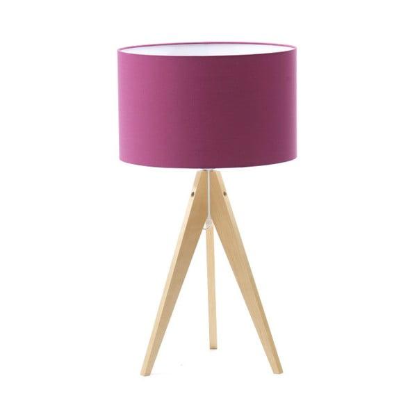 Fialová stolová lampa Artist, breza, Ø 33 cm