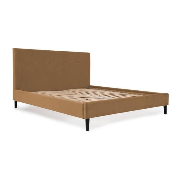 Svetlohnedá posteľ s čiernymi nohami Vivonita Kent, 160×200cm