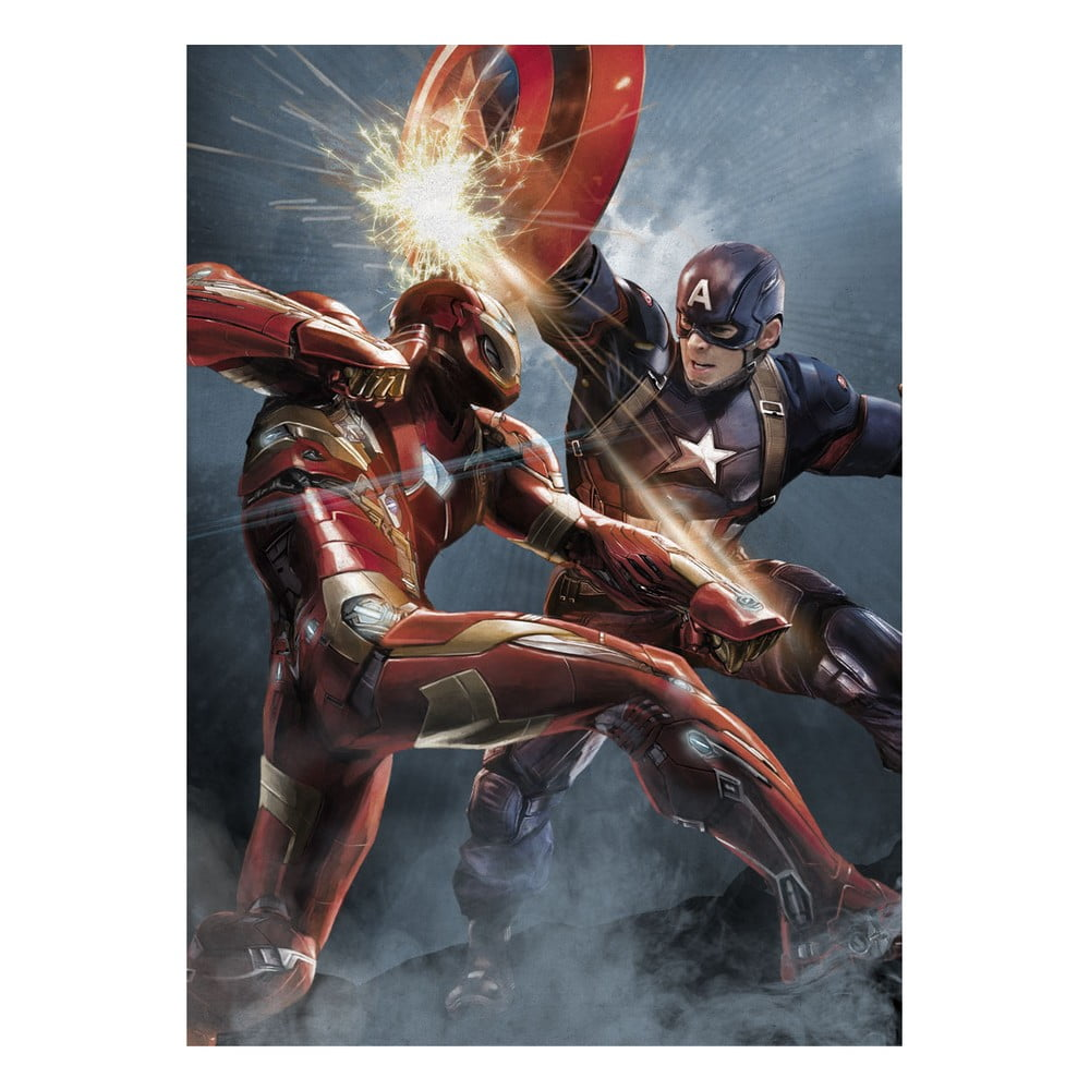 Nástenná ceduľa Civil War Divided We Fall - Cap vs Iron Man