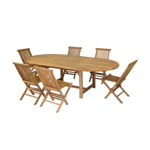 Sada 6 stoličiek a jedálenského stola z teakového dreva Santiago Pons