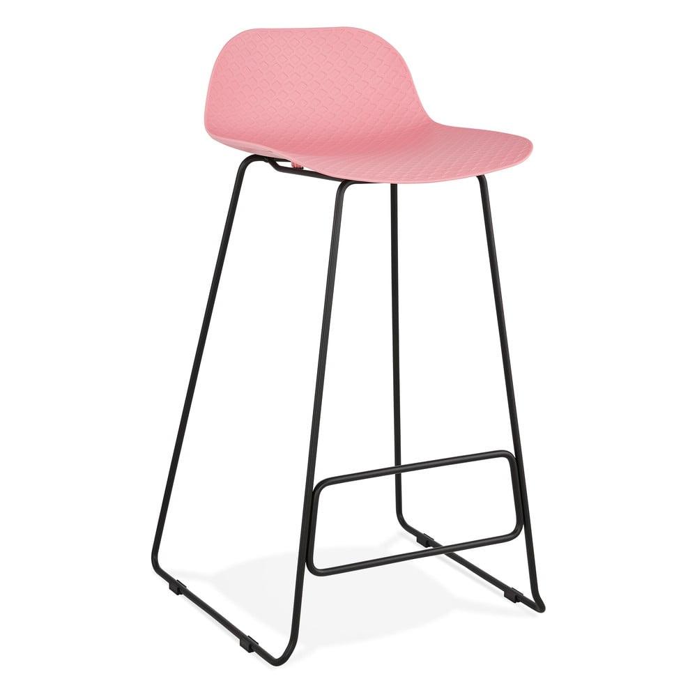 Ružová barová stolička s čiernymi nohami Kokoon Slade, výška sedu 76 cm