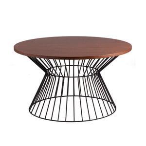 Čierny odkladací stolík sdoskou vdekore orechového dreva sømcasa Hugo