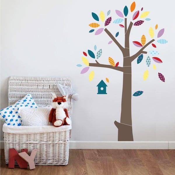 Samolepka na stenu Strom s farebnými lístkami, 2 archy, 70x50 cm