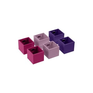 Sada 6 malých magnetických kvetináčov CUBE, fialová