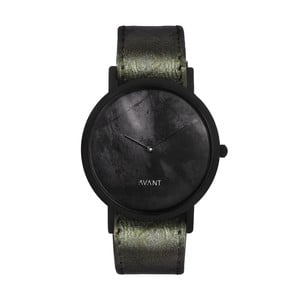 Čierne unisex hodinky s tmavozeleným remienkom South Lane Stockholm Avant Diffuse