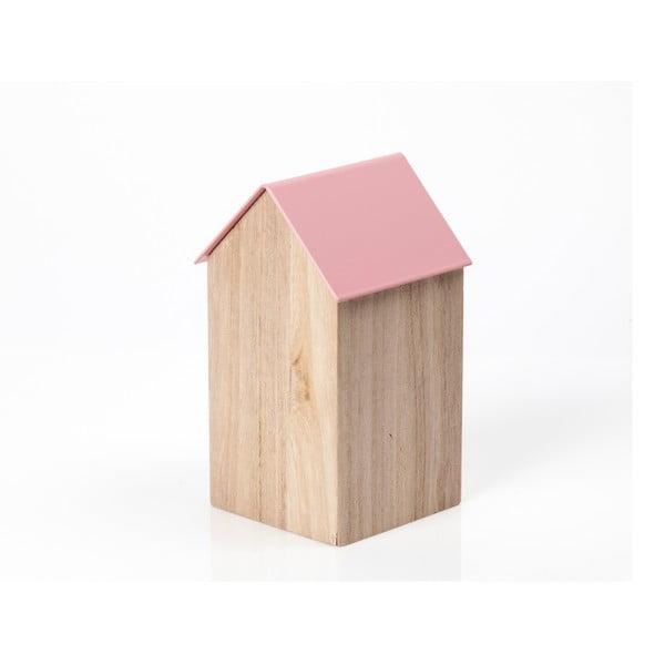 Ružový úložný box House Medium