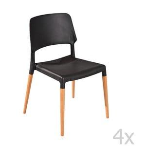 Sada 4 jedálenských stoličiek Molde Black