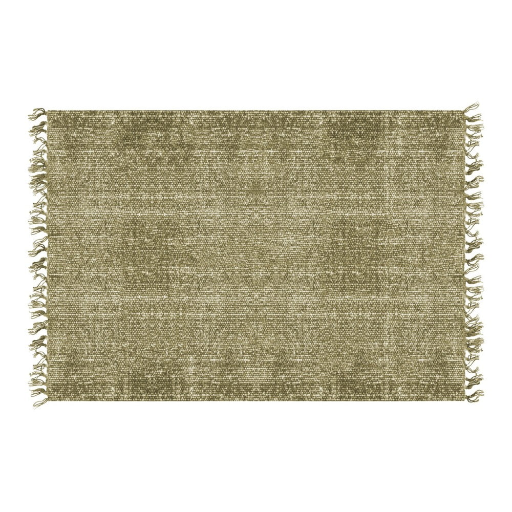 Zelený bavlnený koberec PT LIVING Washed, 140 × 200 cm