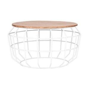 Biely odkladací stolík s doskou z mangového dreva LABEL51 Pixel, ⌀ 70 cm