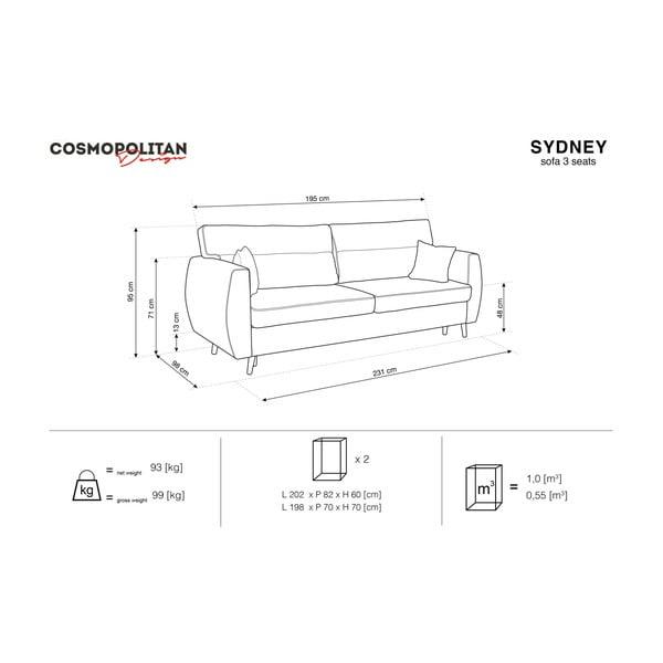 Sivá trojmiestna rozkladacia pohovka Cosmopolitan design Sydney, 231×98×95 cm