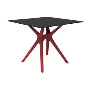 Jedálenský stôl s červenými nohami a čiernou doskou vhodný do exteriéru Resol Vela, 90 × 90 cm