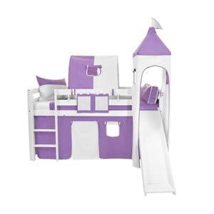 Fialovo-biely bavlnený hradný set na detské poschodové postele Mobi furniture Luk a Tom