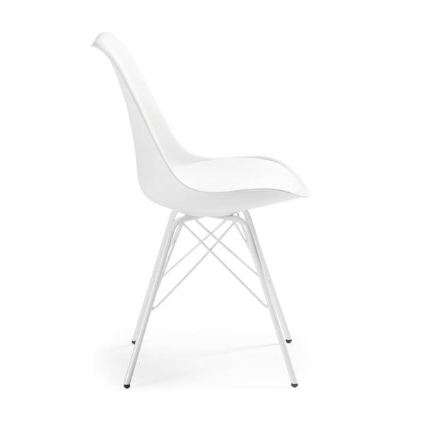 Biela stolička s kovovým podnožím La Forma Lars
