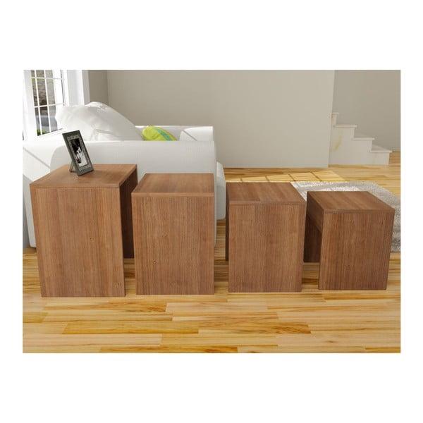 Sada 4 stolíkov Bonsai Walnut