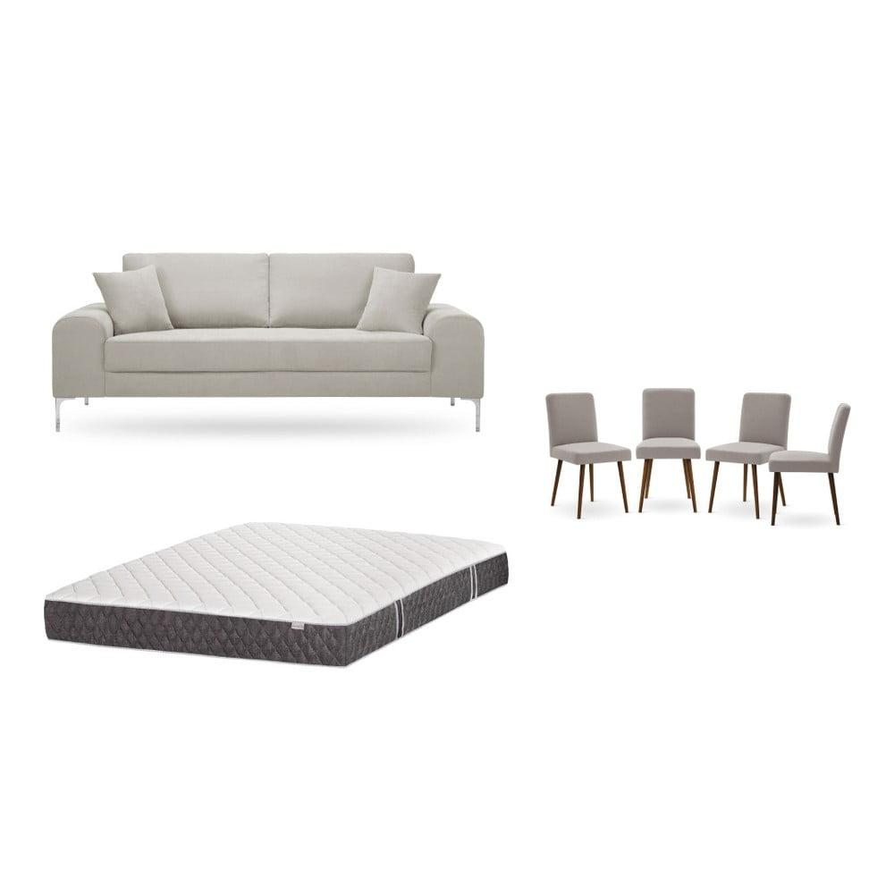 Set trojmiestnej krémovej pohovky, 4 sivobéžových stoličiek a matraca 160 × 200 cm Home Essentials
