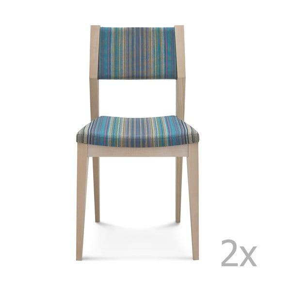 Sada 2 modrých drevených stoličiek Fameg Karen