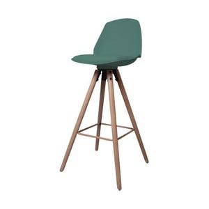zlená barová stolička s podnožím z dubového dreva Actona Oslo