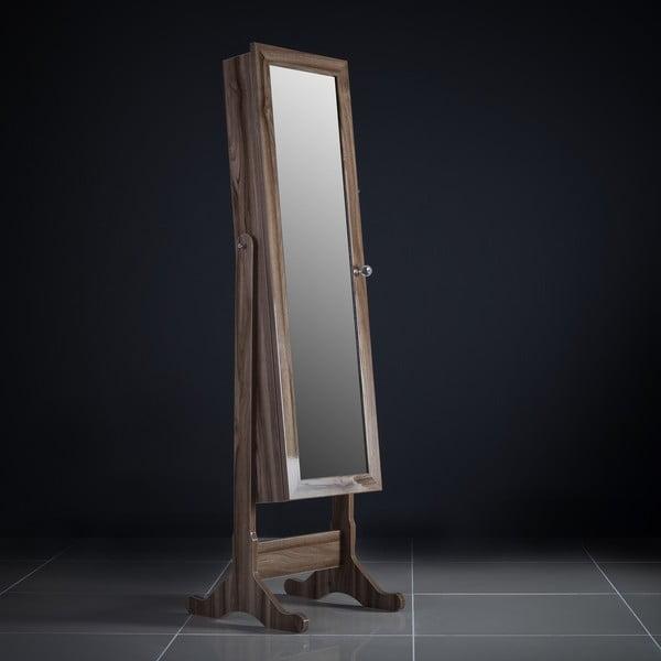 Uzamykateľné stojacie zrkadlo so šperkovnicou Isabella, čerešňové