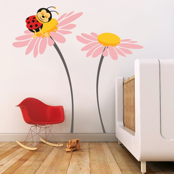 Samolepka na stenu Lienka na kvete, ružová, 70x50 cm
