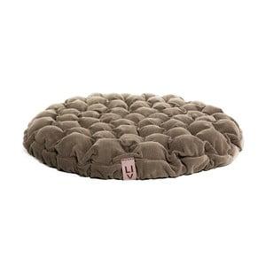 Tmavě béžový sedací polštářek s masážními míčky Linda Vrňáková Bloom, ø75cm