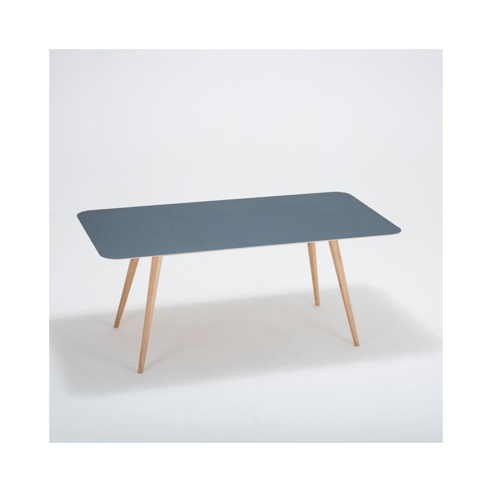 Jedálenský stôl z masívneho dubového dreva s tmavomodrou doskou Gazzda Linn, 180 × 90 cm