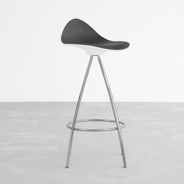 Čierno-biela stolička s chrómovanými nohami Stua Onda, 66 cm