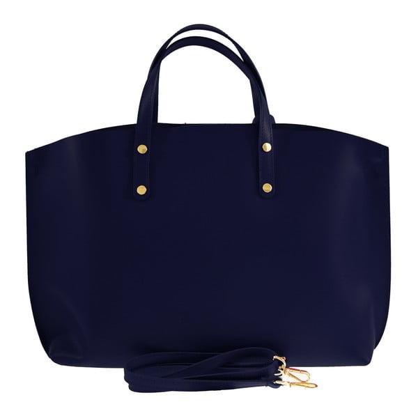 Modrá kožená kabelka Chicca Borse City