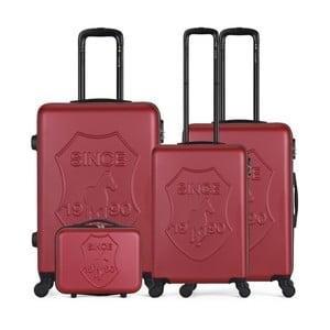 Sada 4 vínových cestovných kufrov na kolieskach GENTLEMAN FARMER Integre & Vanity
