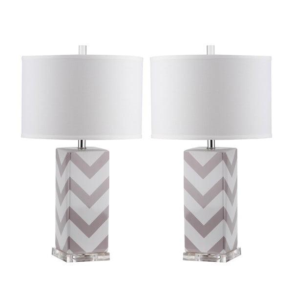 Sada 2 stolových lámp so sivo-bielu základňou Safavieh Gabriella