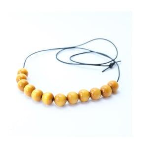 Žltý drevený dlhý náhrdelník Ko-ra-le Long