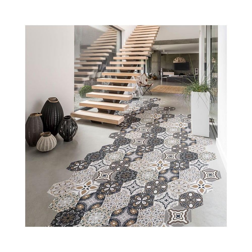 Sada 10 vodoodolných samolepiek na podlahu Ambiance Fernando, 20 × 18 cm