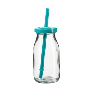 Fľaša na smoothie s tyrkysovým viečkom a slamkou SUMMER FUN II, 200ml