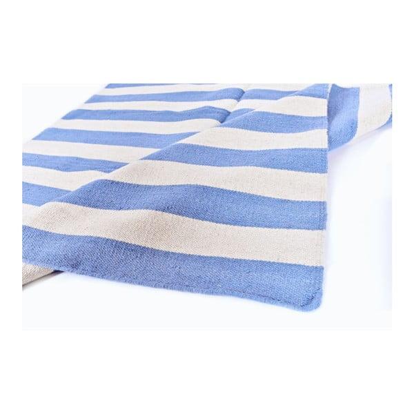 Vlnený koberec Geometry Stripes Pigeons Blue & White, 160x230 cm