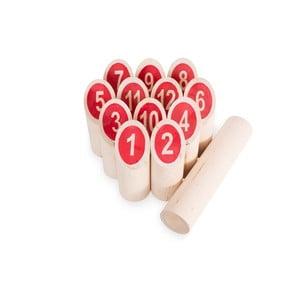 Záhradná hra pre celú rodinu Kubb s červenými číslami