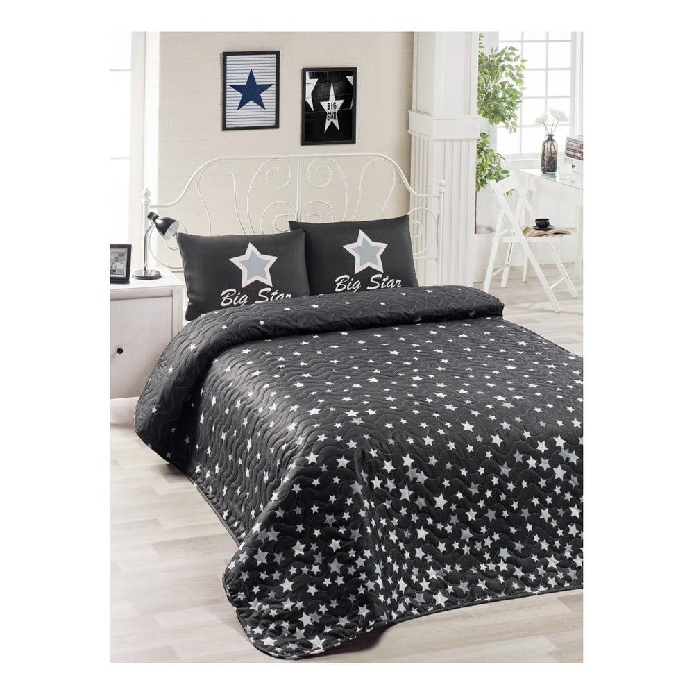 Set čiernej prikrývky cez posteľ a obliečky na vankúš Mismo Cula, 160 × 220 cm