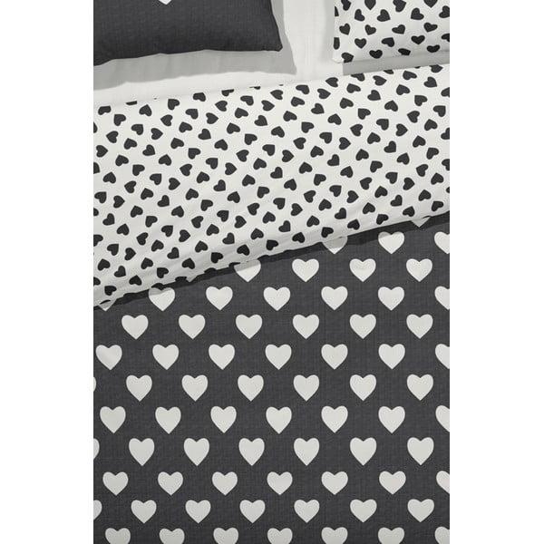 Obliečky  Hearts 140x200 cm, čierne