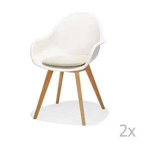 Sada 2 bielych záhradných stoličiek s čalúneným sedadlom LifestyleGarden Montreux