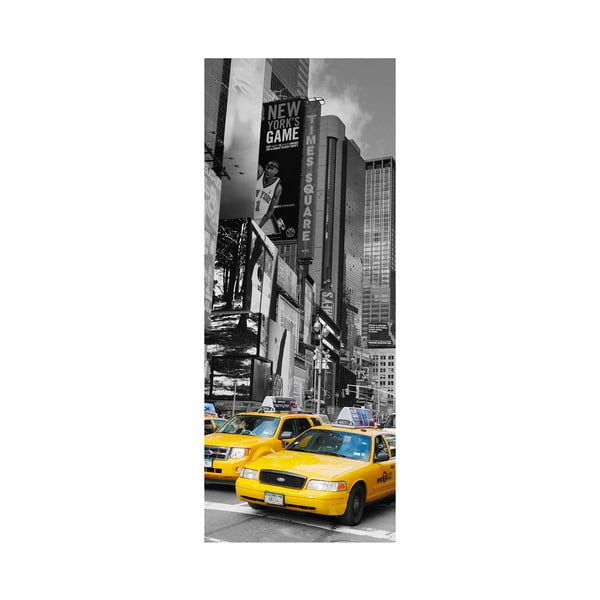 Adhezívna samolepka na dvere Ambiance Time Square Taxis