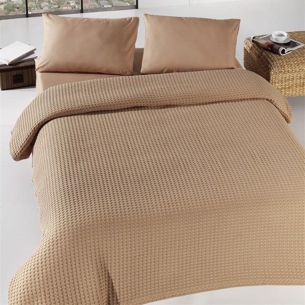 Hnedá ľahká prikrývka cez posteľ Burumcuk, 160x240cm