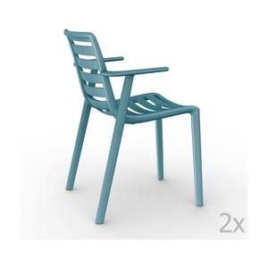 Sada 2 modrých záhradných stoličiek sopierkami Resol Slatkat