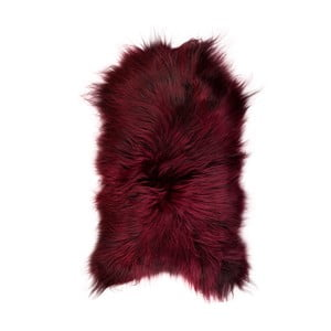 Červená ovčia kožušina s dlhým vlasom, 100x60 cm