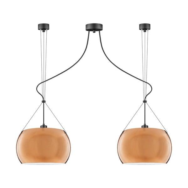 Závesné svietidlo s 2 svietidlami v medenej farbe Sotto Luce MYOO Elementary