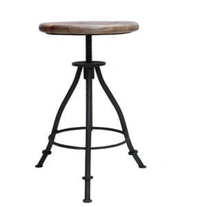 Čierna stolička so sedákom z mangového dreva LABEL51 Jaipur