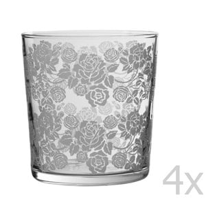 Set 4 pohárov Roses, 370 ml